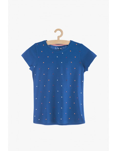 T-shirt dziewczęcy niebieski z kolorowymi cekinami