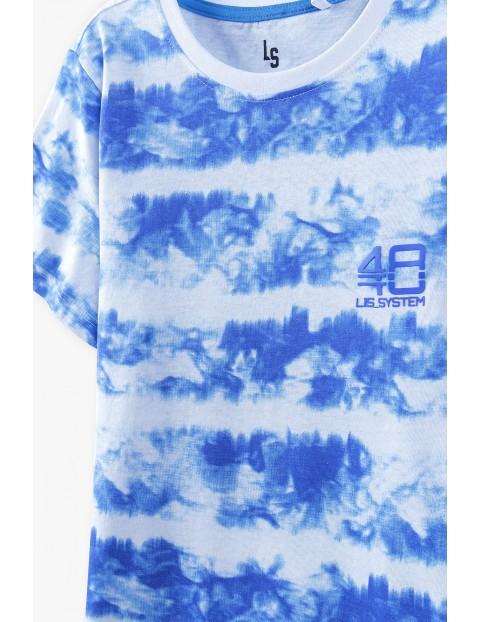 T-shirt chłopięcy bawełniany- biało- niebieski