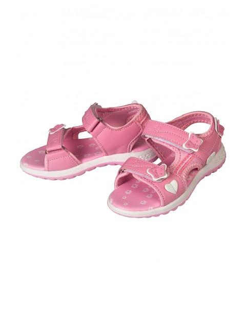 Sandały dziewczęce zapinane na rzep- różowe