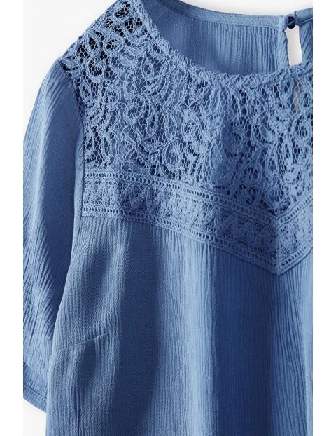 Bluzka damska z koronkową górą - niebieska