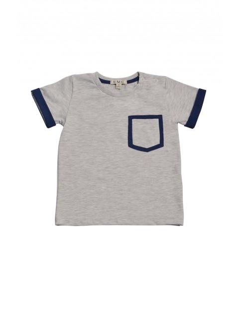 T-shirt niemowlęcy z miękkiej szarej dzianiny