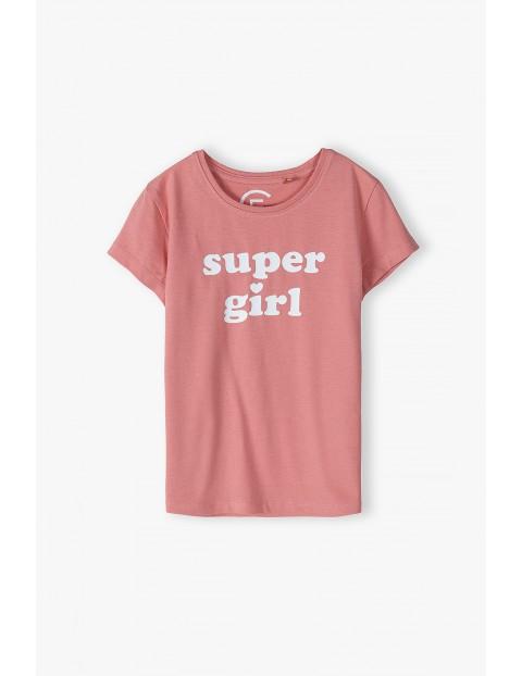 Różowa koszulka dla córki i mamy- Super girl