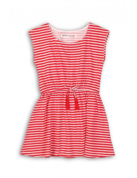 Sukienka dziewczęca bawełniana na lato w czerwono-białe paski