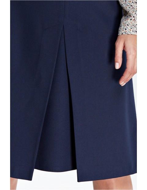 Elegancka spódnica z kontrafałdą - granatowa