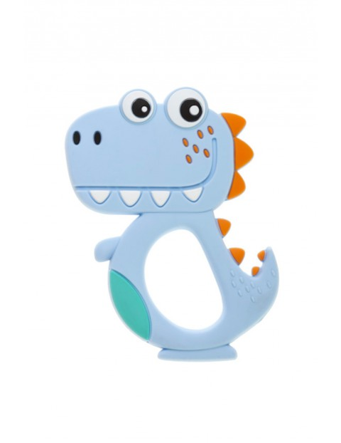 Gryzak silikonowy Dino - niebieski wiek 0msc+