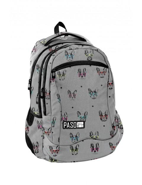 Plecak młodzieżowy PASO szary w pieski