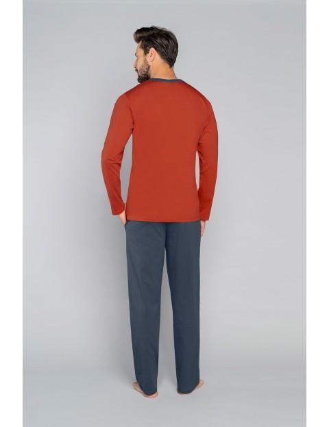 Bawełniana piżama męska z długim rękawem z nadrukiem