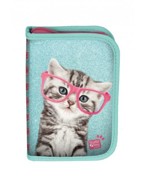 Piórnik dla dziewczynki z wyposażeniem- Kot