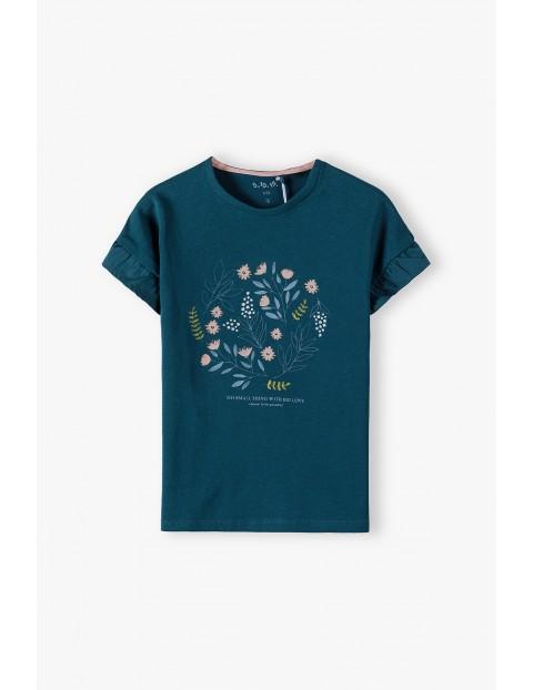 Bawełniany granatowy  t-shirt dziewczęcy ozdobiony kwiatkami