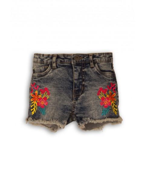 Szorty jeansowe z efektem sprania i haftowanymi kwiatami