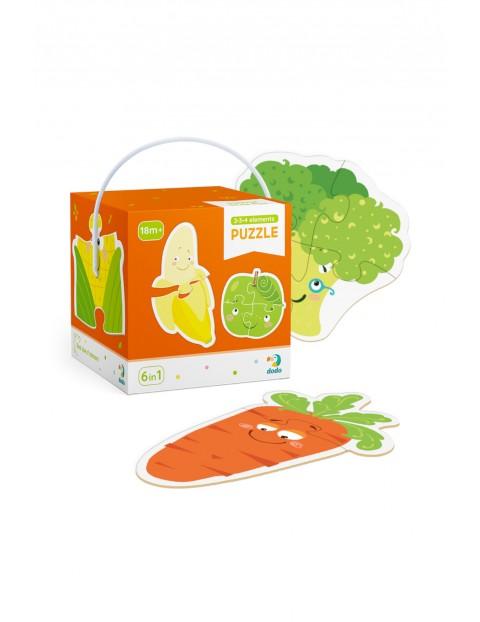 Puzzle 2-3-4 Elementy Owoce i warzywa