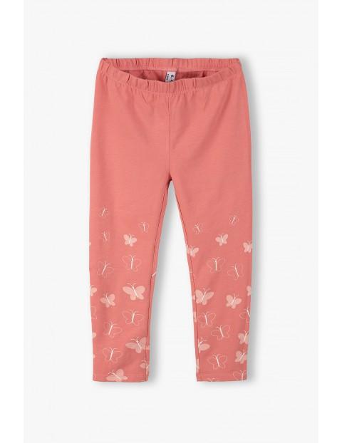 Leginsy dziewczęce z motylkami - różowe