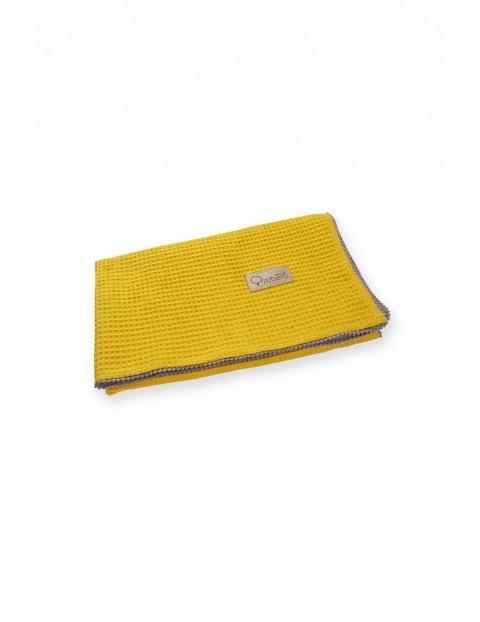 Bawełniany kocyk Wafel musztardowy - 100x75 cm