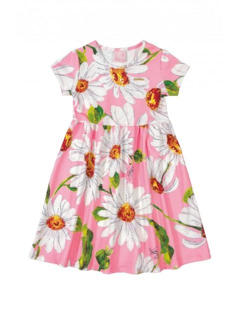 Sukienka dziewczęca różowa w kwiaty