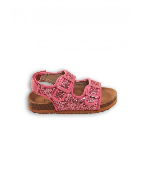 Różowe błyszczące sandały dla dziewczynki