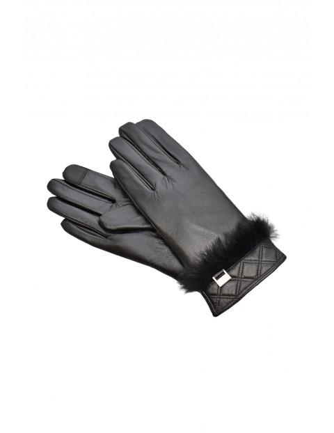 Rękawiczki damskie skórzane antybakteryjne - czarne