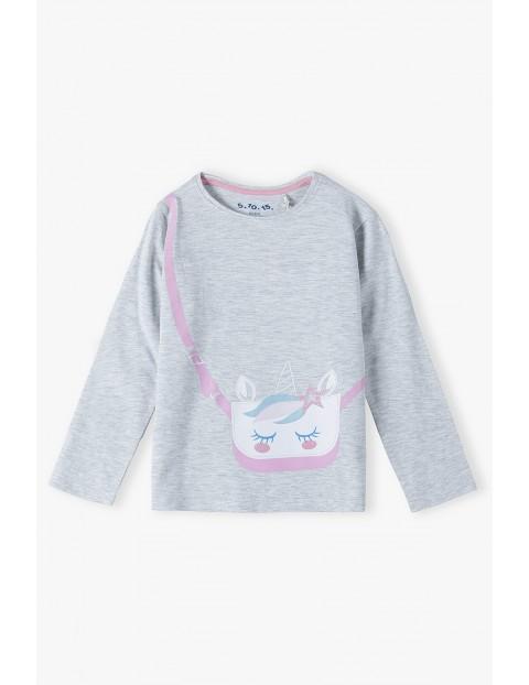Szara bluzka dziewczęca z nadrukiem imitacja torebki- drugi rękaw