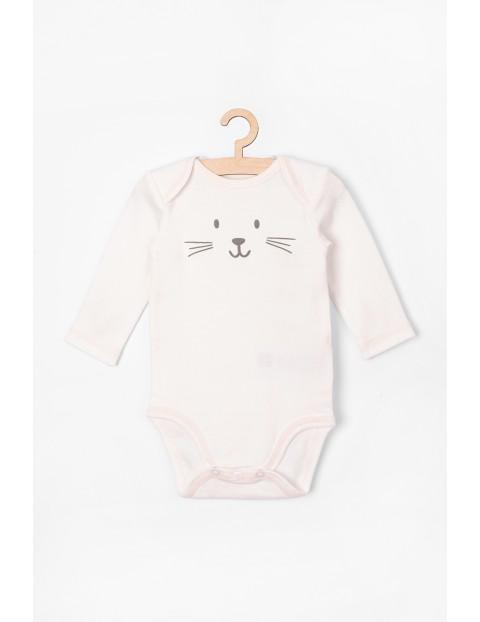 Body niemowlęce z długim rękawem -białe z kotkiem 100% bawełna