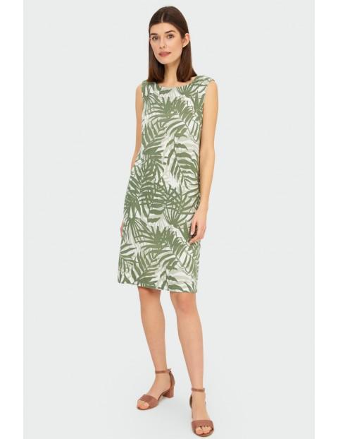 Lniana sukienka z roślinnymmotywem