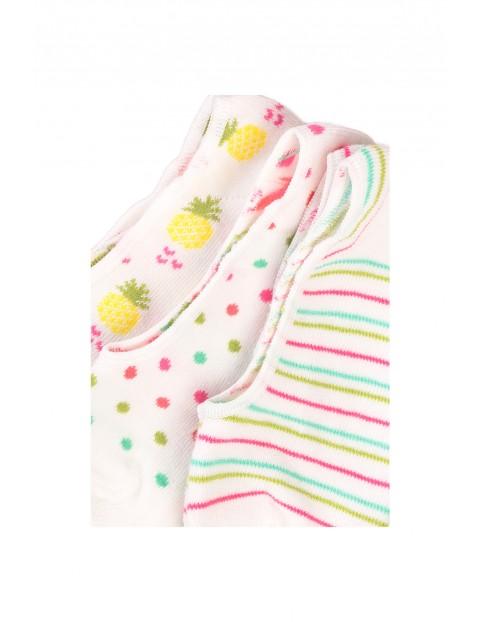 Skarpetki dziewczęce stopki w kolorowe wzory 3 pak