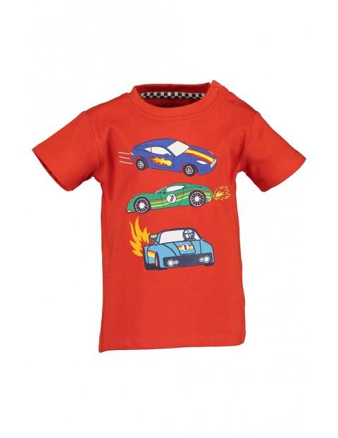 Koszulka chłopięca czerwona z samochodzikami