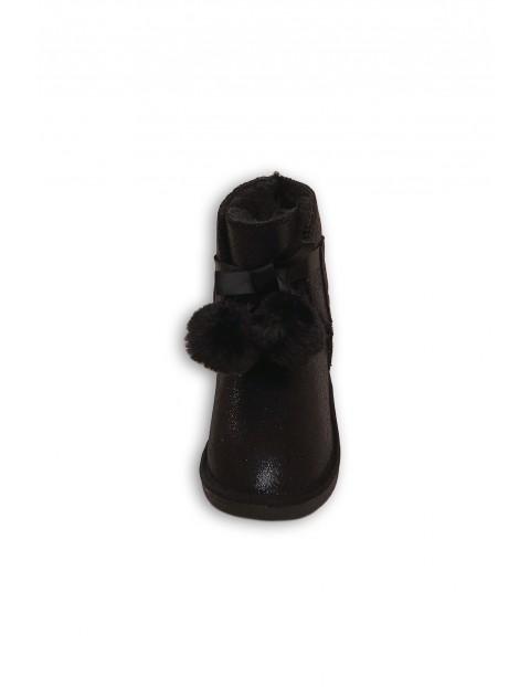 Buty dziewczęce zimowe z pomponami - czarne