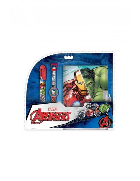 Zestaw z zegarkiem cyfrowym, długopisem, pamiętnikiem Avengers