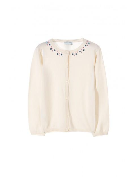 Sweter dziewczęcy z ozdobnymi kamyczkami