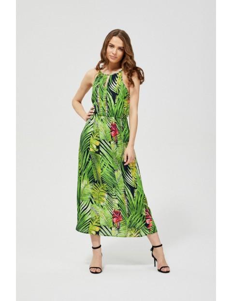 Sukienka damska z motywem roślinnym -zielona