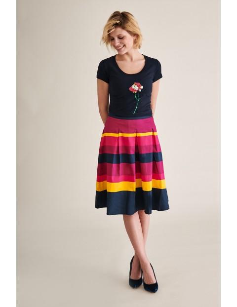 Kolorowa rozkloszowana spódnica z kieszeniami- 100% bawełna- midi rozmiar 34