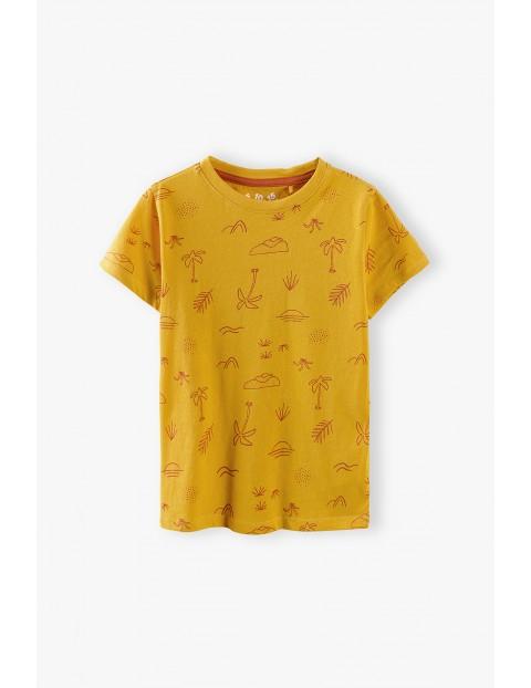 T-shirt chłopięcy bawełniany z wakacyjnymi nadrukami