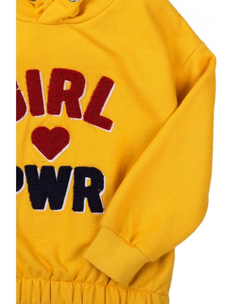 Bluza dziewczęca żółta z kapturem- Girl Pwr