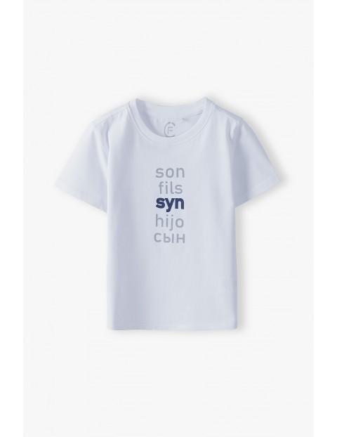 Bawełniany t-shirt chłopięcy biały - Syn- ubrania dla całej rodziny
