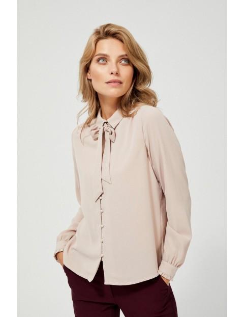 Różowa koszula damska z wiązaniem pod szyją