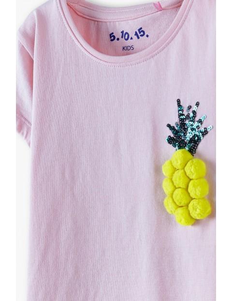 Bluzka dziewczęca z ananasem - różowa