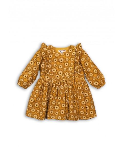 Sukienka dla niemowlaka- musztardowa z falbanką