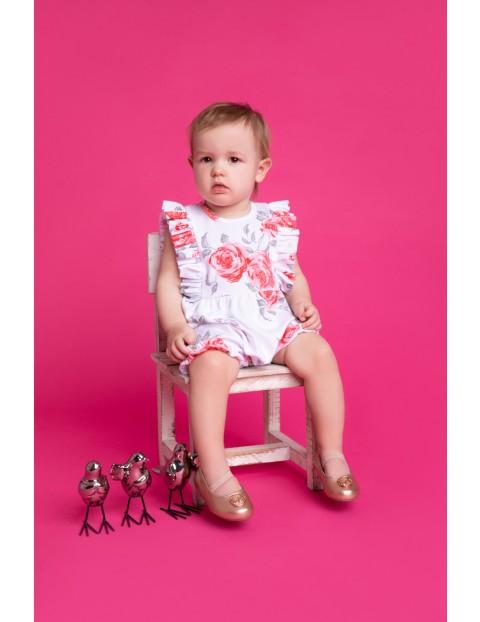 Bawełniany rampers dziewczęcy z kolekcji Róża