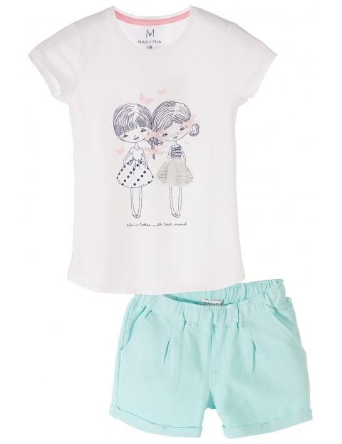 Komplet ubrań dla dziewczynki– tshirt + spodenki