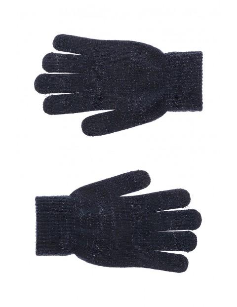 Rękawiczki dziewczęce granatowe