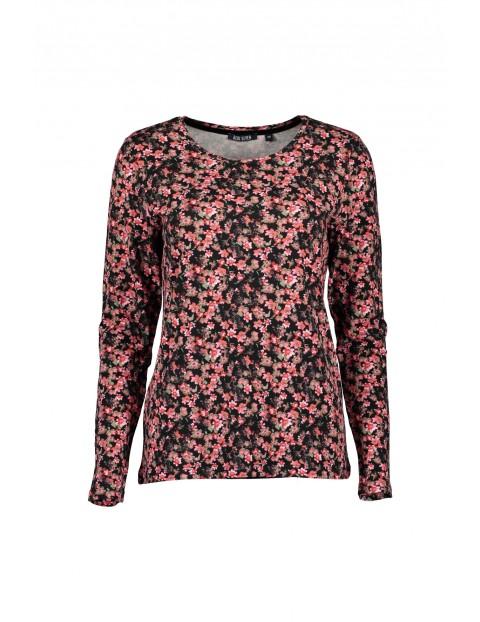 Dzianinowa bluzka damska z nadrukiem w kwiatki