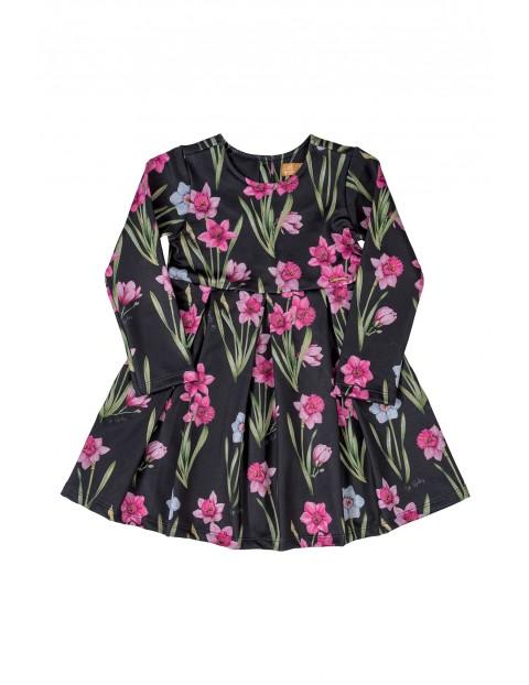 Sukienka dziecięca z długim rękawem- czarna w różowe kwiaty