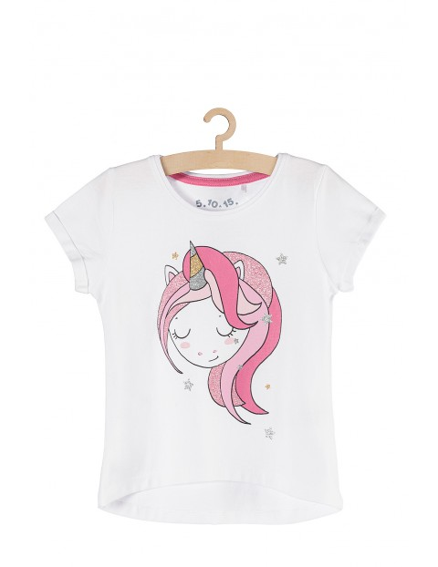 T-shirt dziewczęcy biały z jednorożcem