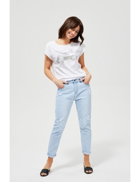 Spodnie jeansowe typu boyfriend z niskim stanem- niebieskie