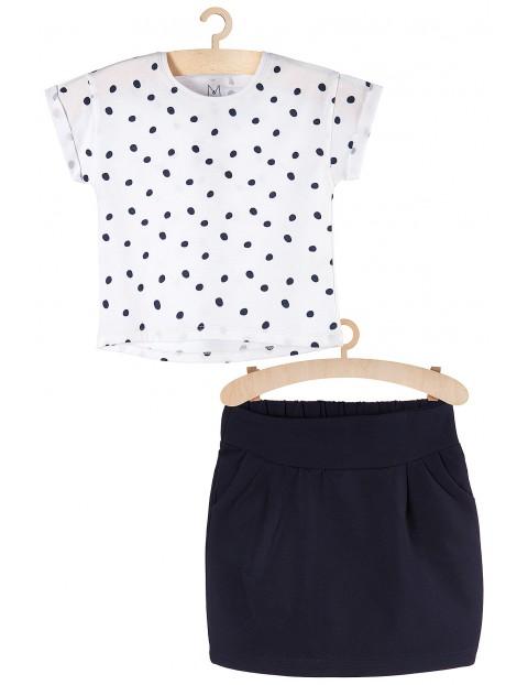 Komplet ubrań dziewczęcch - tshirt i granatowa spódniczka