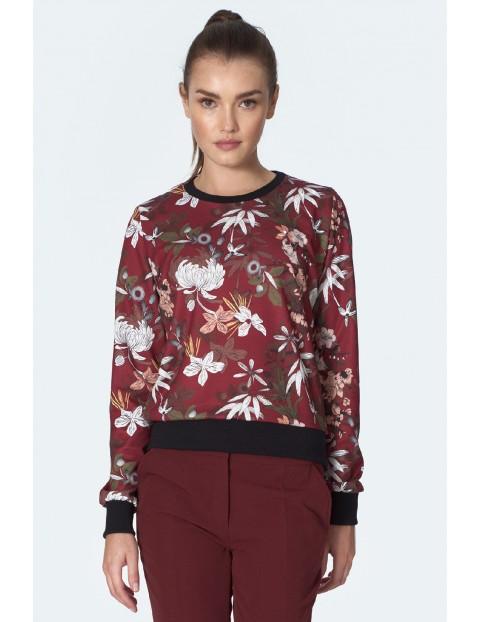 Bluzka damska bordowa w kwiaty