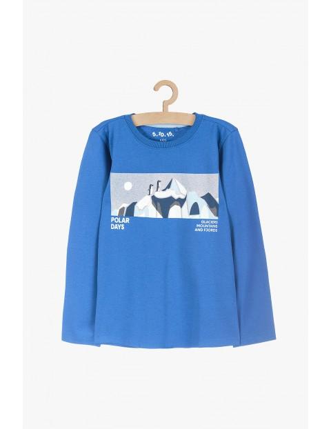Bluzka bawełniana z długim rękawem- niebieska Polar days