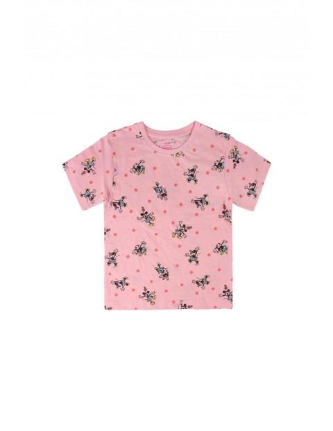 Różowy t-shirt dziecięcy z nadrukiem Myszka Minnie