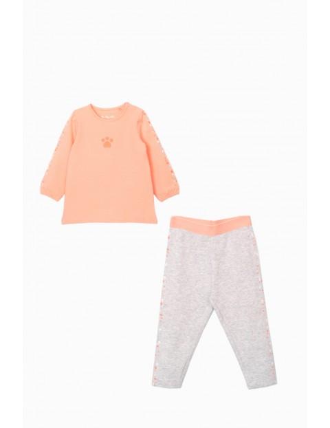 Komplet dziewczęcy  -pomarańczowa tunika z psią łapką  + legginsy we wzorki w kolorze ecru