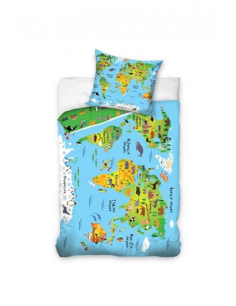 Pościel bawełna Mapa świata 160x200+70x80 cm