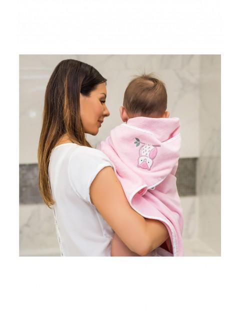 Okrycie kąpielowe welurowe – ręcznik z kapturkiem 85x85cm - różowe